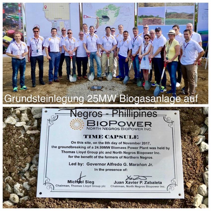 Grundsteinlegung Biogasanlage Nord Negros Biopower Inc. auf Negros Phillipinen